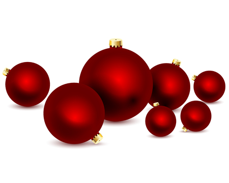 Seven Red christmas ball on white background. Vector illustration.