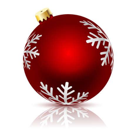roter Weihnachtsball verziert mit Winter-Schneeflocken auf einem weißen Hintergrund. Vektor-Illustration.