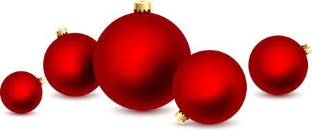 Fünf roter Weihnachtsball auf weißem Hintergrund. Vektor-Illustration.