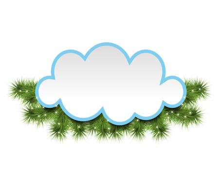 Weihnachtshintergrund mit einer Wolke verziert mit Kiefernniederlassungen. Vektor-Illustration Illustration