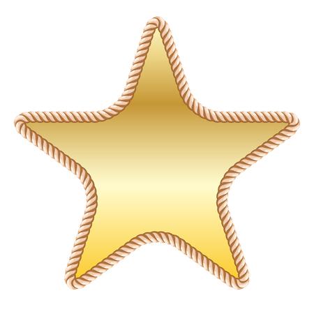 gold star in rope on white background. Vector illustration Illusztráció