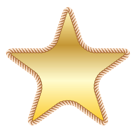 gold star in rope on white background. Vector illustration Illustration