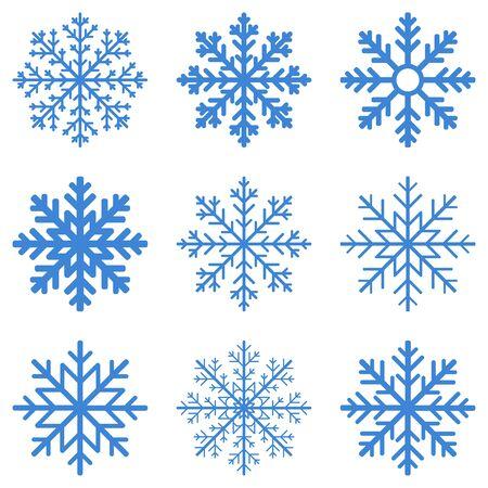 Stellen Sie blaue Winterschneeflocke auf weißem Hintergrund ein. Vektor-Illustration.