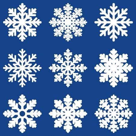 Stellen Sie weiße Winter-Schneeflocke ein, die auf blauem Hintergrund lokalisiert wird. Vektor-Illustration. Illustration