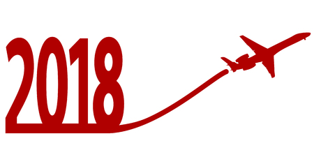Neues Jahr 2018 mit Flugzeug auf weißem Hintergrund. Vektor der Abbildung
