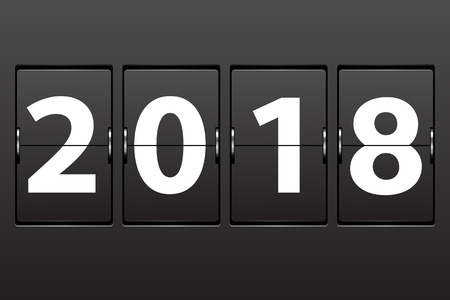 Illustration New Year 2018 date. Set of numbers on a mechanical timetable. Vector.