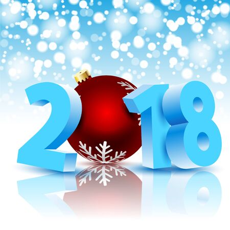 New Year 2018 with Christmas ball on holiday background. Illustration vector Illustration