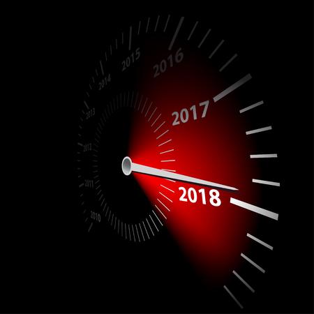 Geschwindigkeitsmesser mit dem Datum neues Jahr 2018. Vektor-Illustration.