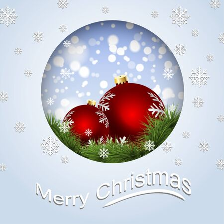 Greeting card with Christmas balls and snowflakes. Vector illustration Illustration