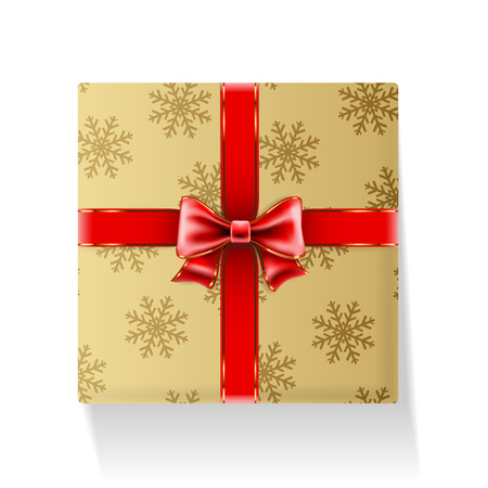 Gift packaged in golden box with ribbon and bow on white background. Vector illustration.