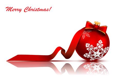 Weihnachtsroter Ball mit Bogen und Band auf einem weißen Hintergrund. Vektor-Illustration.
