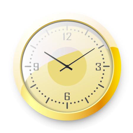 Golden wall clock on white background. Vector illustration. 일러스트