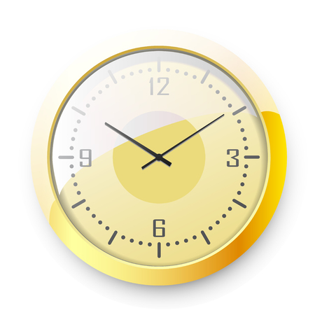Golden wall clock on white background. Vector illustration. Çizim