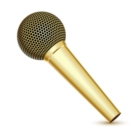 Golden Microphone on white background Vector Illustration. Illustration
