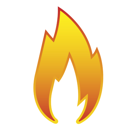 Sign red flame icon isolated on white background vector Illustration. Illustration