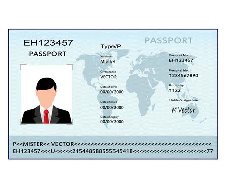 Passeport avec données biométriques. Document d'identification. Illustration vectorielle.