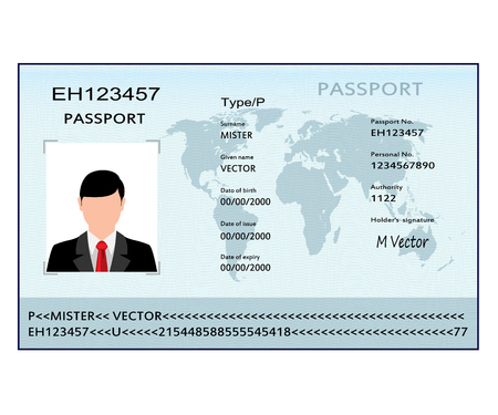 Passport with biometric data. Identification Document. Vector illustration.