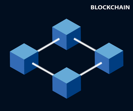 Constructed according to certain rules, a continuous series of blocks containing information. Blockchain concept. Global cryptography in the business financial world. Illustration vector