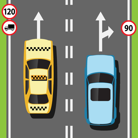 Street with cars on the road. Highway and vehicles concept, speed of traffic. Vector illustration. Archivio Fotografico - 103400198