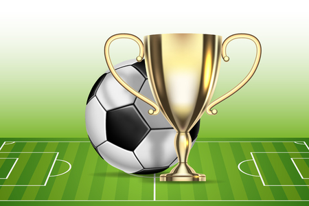 Football 2018 championship. Soccer ball, arena stadium and golden cup. Illustration Vector