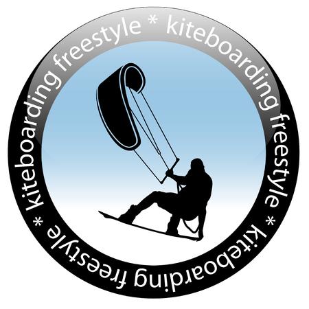 Kiteboarding Freestyle Rider Icon, isolated on white background. Vector illustration.