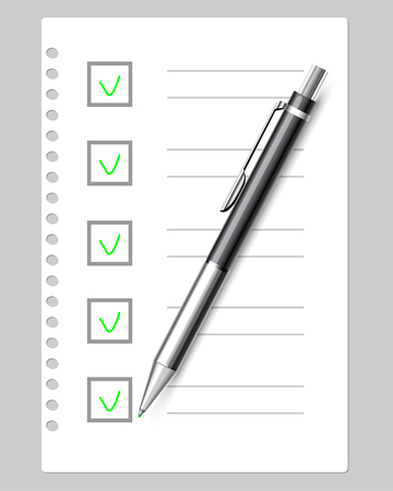 Checkout document with green checkmarks. List of cases and application form. Icon business concept. Sheet of notebook paper and pen on gray background. Illustration, vector.