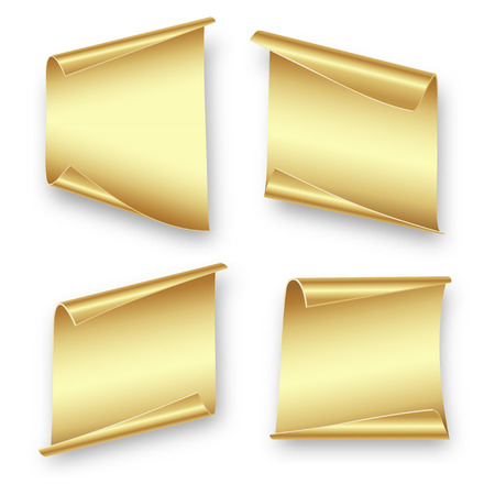 Set gold sheets of paper for writing, gift, advertising, Christmas, birthday on white background
