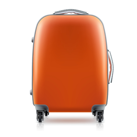 Orange plastic Suitcase on white background. Concept travel, icon. Illustration vector. 矢量图像