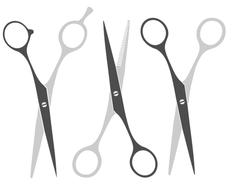 Set icons barber scissors isolated on white background. Illustration Vector.