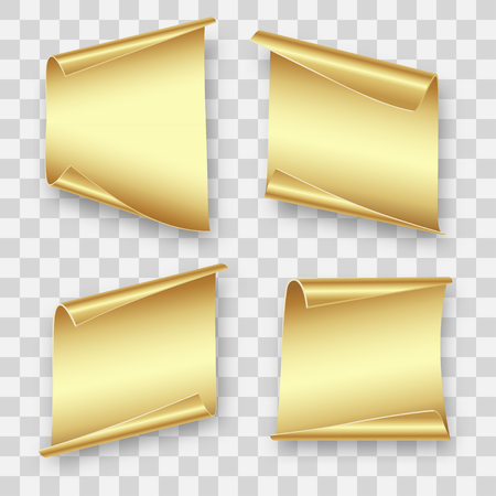 four gold sheets of paper for writing, gift, advertising, Christmas, birthday on transparent background