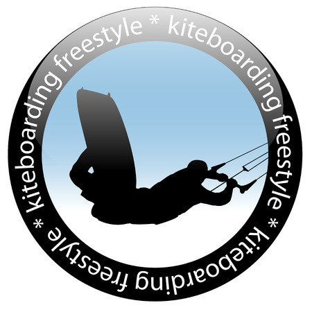Kiteboarding jump, Freestyle Rider Icon, isolated on white background. Vector illustration. Vektorové ilustrace