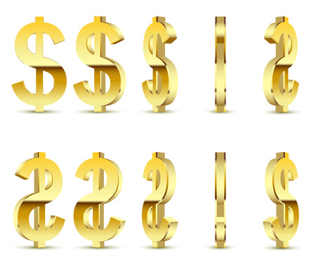 Gold sign is a dollar, on white background. 3D illustration icon set. Vector. Illustration