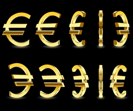 Gold sign Euro on black background. 3D illustration business icon set, finance concept. Vector.