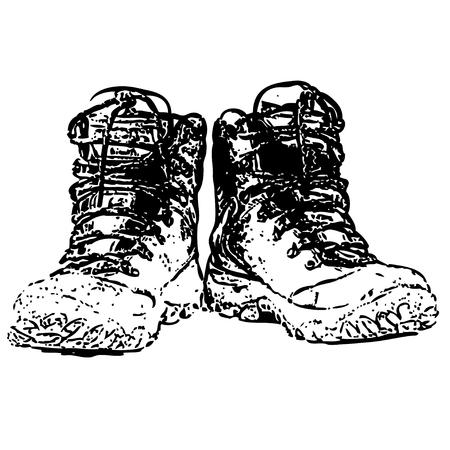 Par de botas sucias aisladas sobre fondo blanco. Ilustración de vector.