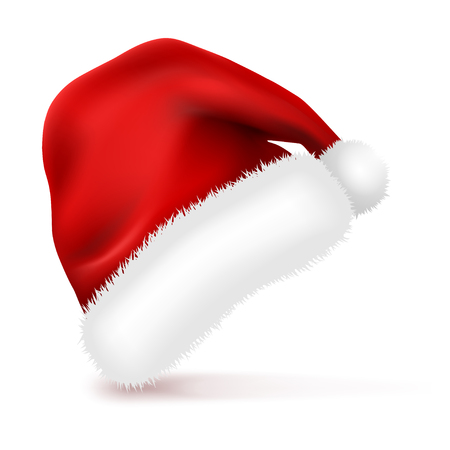Santa Claus Hat with Fur Isolated on white background. New Year Christmas red Winter Cap. Vector illustration.	 Stock fotó - 116795976