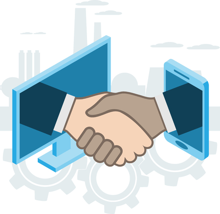 Business handshake, via phone and laptop, online conclusion of transaction. Strategy success, financein ideas. Vector illustration Иллюстрация