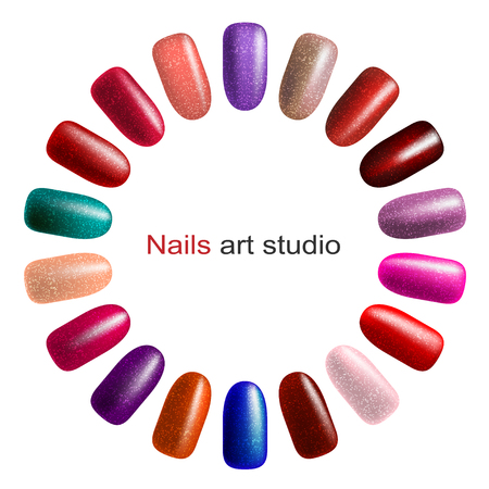Nail polish palette isolated on white background. Fashion color manicure for beauty studio.  Illustration vector.