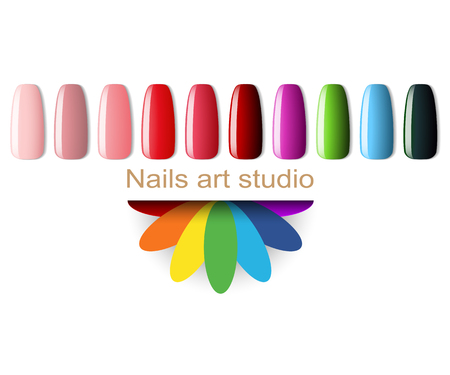 Fashion Nail polish, color Manicure for beauty studio on white background. Illustration vector.