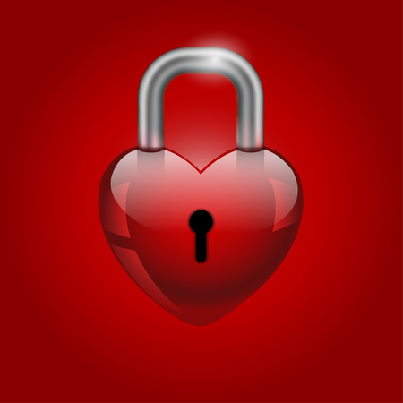 Heart lock, abstract valentine's day icon on red background. Vector illustration.