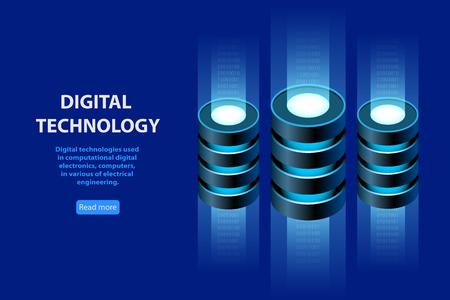Concept of Isometric Information Base, Web hosting, data storage, data backup copy,  digital technology. Vector illustration.