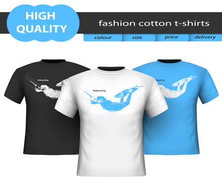 Trendy realistic cotton t-shirts with image of kiteboarding isolated on white background. Template for advertising, web site, online store. Illustration vector.