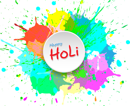 Happy Holi Holiday, colored colorful blots on white background for festival of India celebration. Colorful Abstract Illustration vector