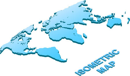 Isometric Map of world isolated on white background. Illustration Vector. Ilustrace
