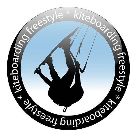 Extreme sport, Kiteboarding jump, Freestyle Rider Icon, isolated on white background. Vector illustration.