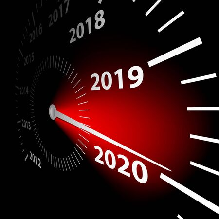 Calendar date of the New Year 2020 on the speedometer. Abstract vector illustration.