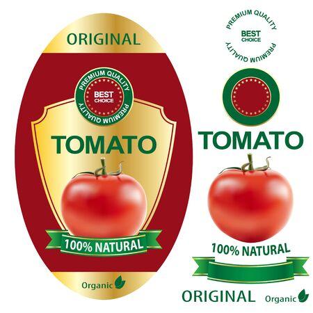 Tomatoes label. Elegant premium banner design for packaging, set. Illustration vector.