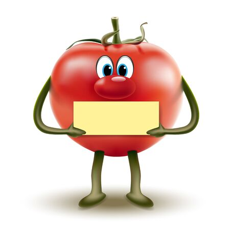 Cartoon red tomato clipart with a sign in hands on a white background. Vector illustration