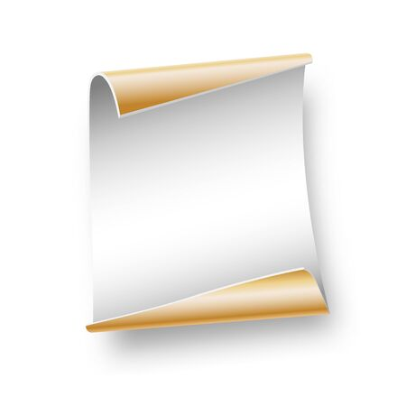 White sheet parchment of paper for writing, gift, advertising, Christmas, birthday on white background. Vector illustration.