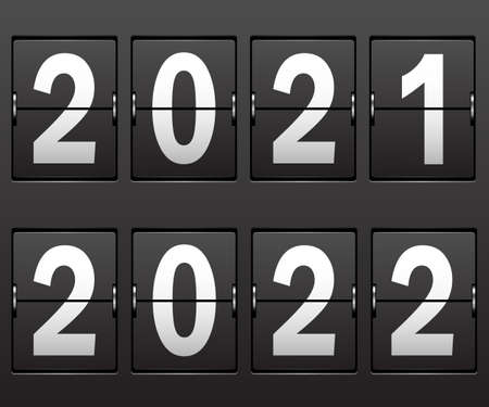 New Year's date 2021, 2022 on mechanical black scoreboard. Illustration Vector.