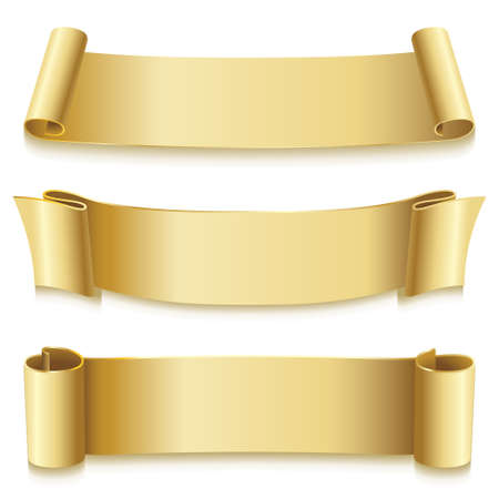 Holiday Ribbons golden for new year, christmas, birthday, print isolated on white background. Flag icon. Vector illustration.